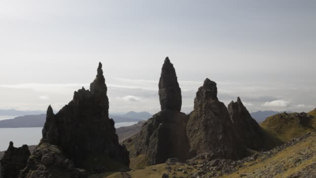 the old man of storr on the trotternish peninsular on the isle of skye, scotland, uk. - distressed stock videos & royalty-free footage