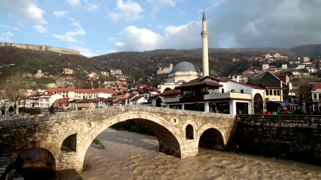 the old stone bridge in prizren - bridge built structure stock videos & royalty-free footage