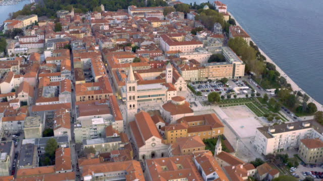 the old town of zadar - panoramica video stock e b–roll