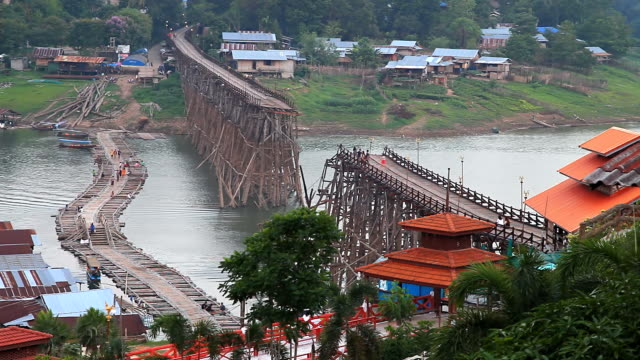 The old wooden bridge collapsed, Thailand