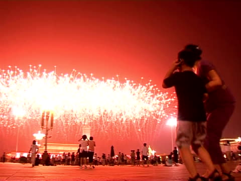 the olympic games 2008 kick off with china putting on a dazzling opening ceremony complete with fireworks all over beijing - opening ceremony stock videos & royalty-free footage