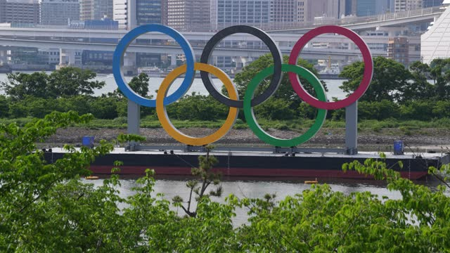 the olympic rings are displayed by the odaiba marine park olympic venue on may 12, 2021 in tokyo, japan. with less than three months to go until the... - japan stock videos & royalty-free footage