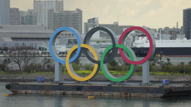 the olympic rings are installed in the odaiba district of tokyo in minatoku on wednesday march 11 2020 tokyo is set to host the summer olympics in... - japan bloomberg stock videos & royalty-free footage