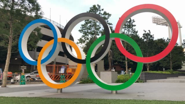 the olympic rings in front of the new national stadium, also known as olympic stadium on august 08, 2019 in tokyo, japan. preparation is continuing... - sport venue stock videos & royalty-free footage