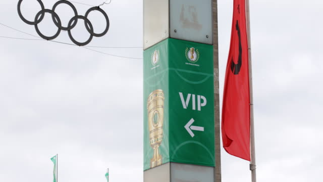 The Olympic rings of the stadium and a VIP sign ahead of the DFB Cup Final 2019 between RB Leipzig and Bayern Muenchen at Olympiastadion on May 25...