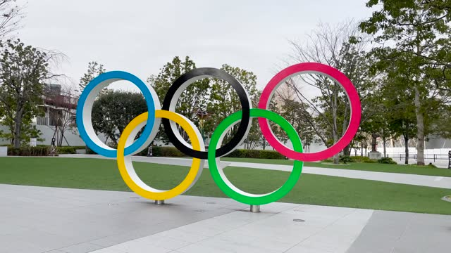 the olympic rings on january 12, 2021 in tokyo, japan. recent surveys by kyodo news and tokyo broadcasting system found that over 80 percent of... - tokyo japan stock videos & royalty-free footage