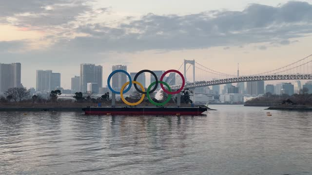 the olympic rings on the water on january 22, 2021 in tokyo, japan. with just six months to go until the start of the games, it has been reported... - tokyo japan stock videos & royalty-free footage