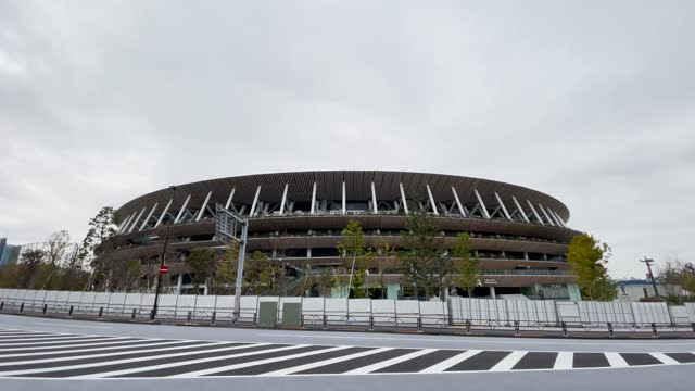 the olympic stadium on january 12, 2021 in tokyo, japan. recent surveys by kyodo news and tokyo broadcasting system found that over 80 percent of... - sport venue stock videos & royalty-free footage