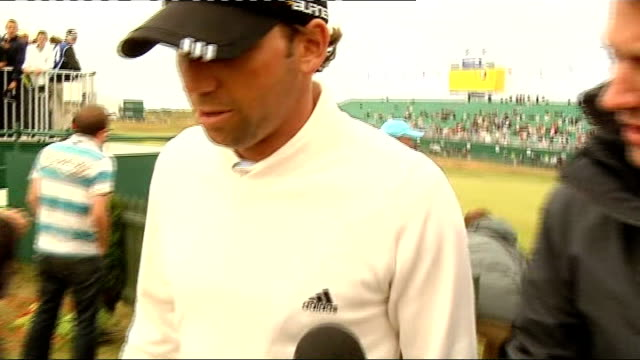 Sergio Garcia interview ENGLAND Lancashire Royal Birkdale EXT Sergio Garcia interview as along towards club house with reporter SOT discusses weather...