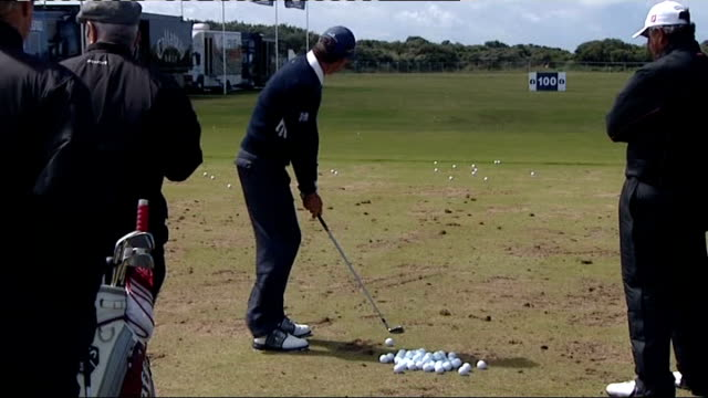 players practising england lancashire southport royal birkdale ext padraig harrington hitting balls on driving range - southport england stock videos & royalty-free footage