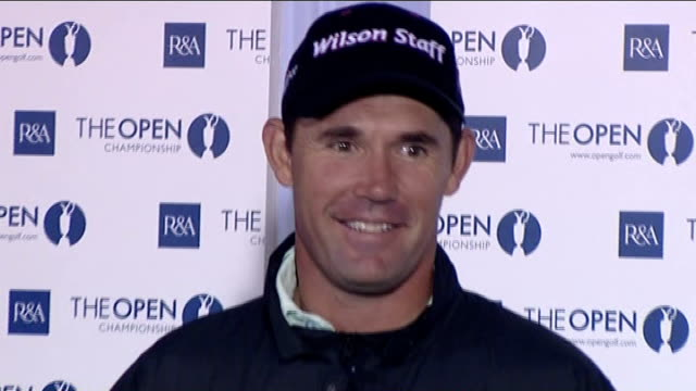 retief goosen and padraig harrington england lancashire southport royal birkdale int retief goosen press conference sot talks of the tough conditions... - southport england stock-videos und b-roll-filmmaterial
