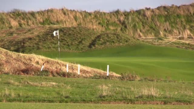 the open championship returns to northern ireland for 2019 taking place in july at the royal portrush golf club on the causeway coast in antrim mike... - the open championship stock-videos und b-roll-filmmaterial