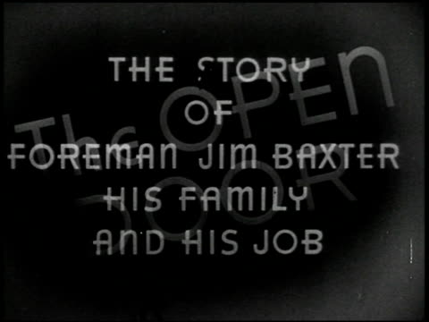 the open door: the story of foreman jim baxter and his family - 1 of 44 - altri spezzoni di questa ripresa 2291 video stock e b–roll