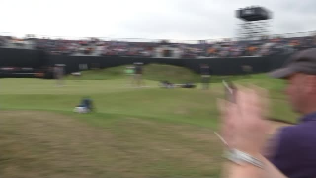 stockvideo's en b-roll-footage met local tommy fleetwood a contender at royal birkdale england royal birkdale int rory mcilroy press conference sot golfer various of people watching... - british open