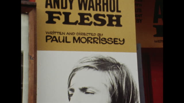 The Open Space Theatre in London advertises Andy Warhol's film 'Flesh'