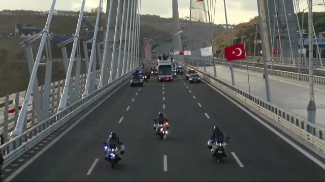 the opening ceremony of the yavuz sultan selim bridge in istanbul turkey on august 26 2016 a third bridge linking the european and asian sides of... - sultan stock videos and b-roll footage