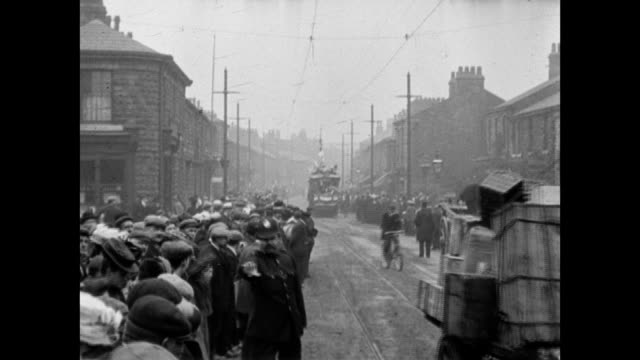 1907 the opening of the accrington electric trams - edwardian style stock videos & royalty-free footage
