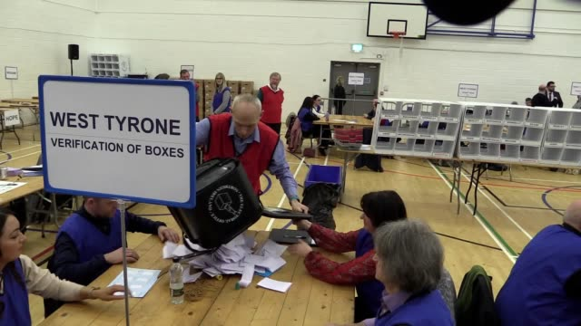 the opening of the ballot boxes begins in west tyrone northern ireland the constituency is being counted at omagh leisure centre the candidates... - ballot slip stock videos & royalty-free footage