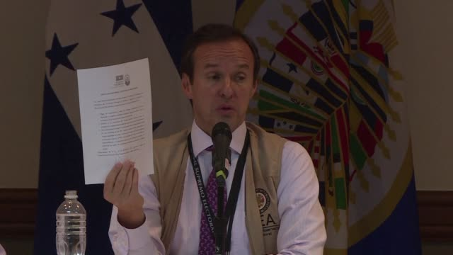 the organization of american states oas obtained on wednesday a promise on behalf of both presidential candidates in the honduran elections to accept... - narrow stock videos & royalty-free footage