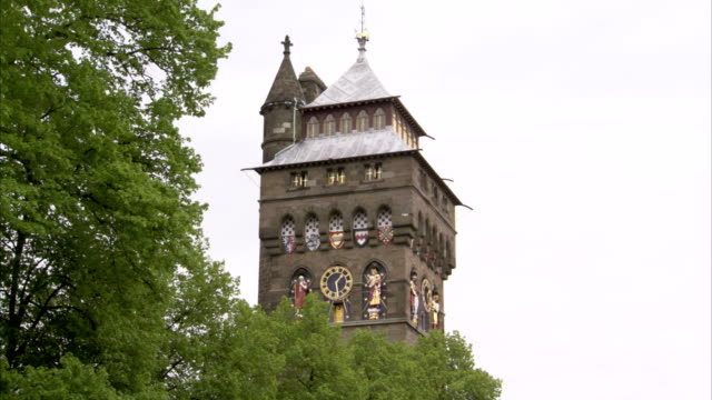 the ornate clock tower of cardiff castle towers over the treetops. available in hd. - cardiff wales stock videos & royalty-free footage