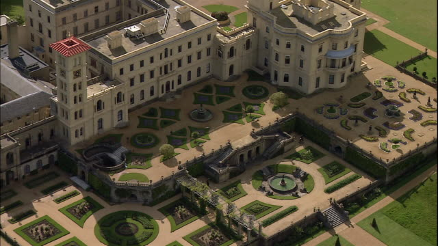 the osborne house and gardens stretch across the countryside in east cowes, isle of wight, england. - isle of wight stock videos & royalty-free footage