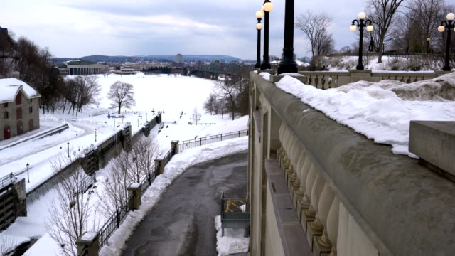 the ottawa locks on the rideau canal, located between parliament hill and the chateau laurier, leading out to the ottawa rive - parliament hill stock videos & royalty-free footage