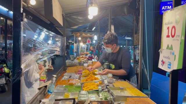 the outdoor night market stall in chanthaburi during the second wave epidemic of covid-19 in thailand. - biological process stock videos & royalty-free footage