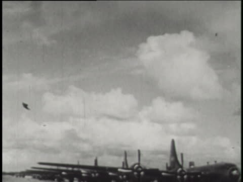 """the outlaw"" b-29 superfortress delivers u.s. general curtis lemay to the islands before able day of operation crossroads. - film stock videos & royalty-free footage"