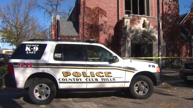 the outreach community church was gutted after a fire investigators say it was arson because accelerants were used k9 unit police suv on november 09... - arson stock videos & royalty-free footage