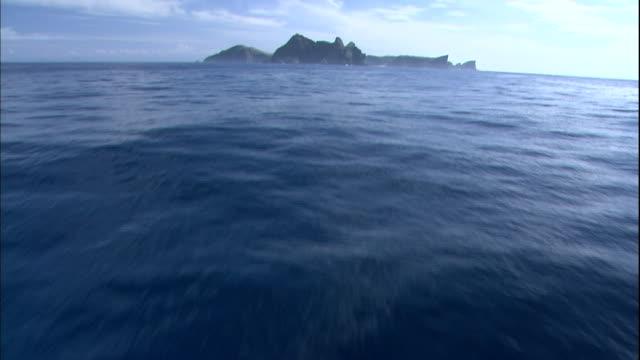 The Pacific Ocean ripples around Yomejima Island of Japan's Bonin Islands.