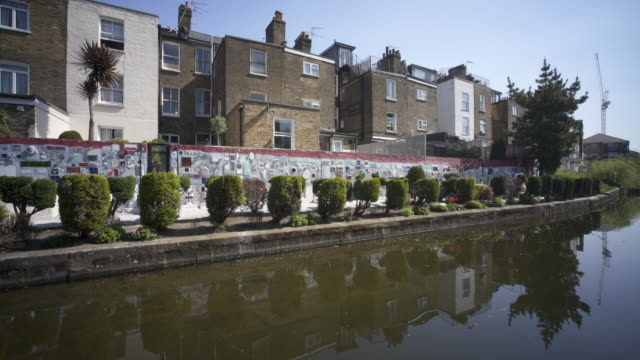 The Paddington Branch of the Grand Union Canal as it winds it way through west London, in spring.