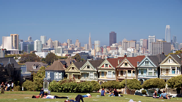 the painted ladies. residential building and financial district. - san francisco bay stock videos & royalty-free footage