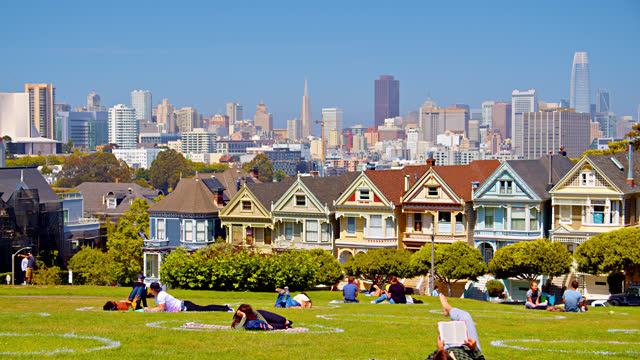 the painted ladies residential district and business downtown. - san francisco bay stock videos & royalty-free footage