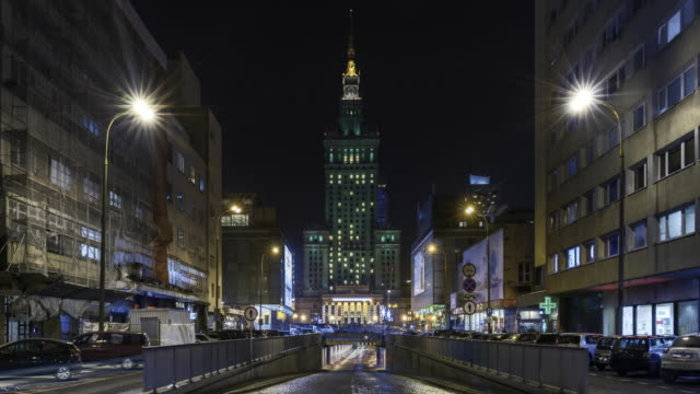 the palace of culture and science in warsaw at night. - warsaw stock videos & royalty-free footage