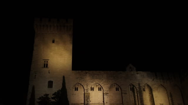 the palace of the popes in Avignon, the night