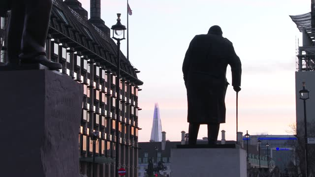 the palace of westminster, house of parliament the day of the brexit vote, with the winston churchill statue during sunrise on december 30, 2020 in... - video stock videos & royalty-free footage