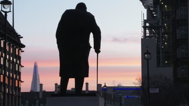 the palace of westminster, house of parliament the day of the brexit vote, with the winston churchill statue during sunrise on december 30, 2020 in... - sculpture stock videos & royalty-free footage