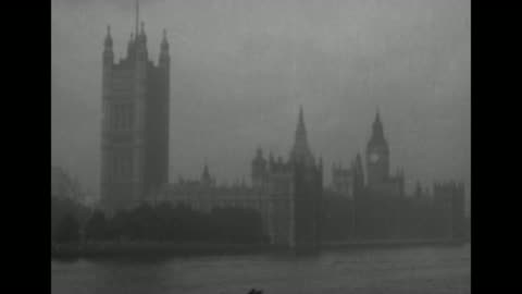 stockvideo's en b-roll-footage met the palace of westminster, with the victoria tower at left and big ben at rear right; thames river is in foreground / note: exact year not known;... - victoria tower