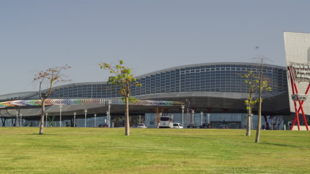 ms pan the palacio de ferias y congresos (convention center) / malaga, andalusia, spain - 2k resolution stock videos and b-roll footage