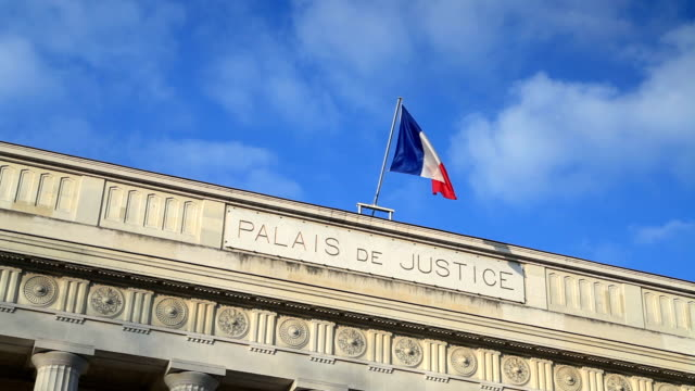 the palais de justice or courthouse of tours, france. - palazzo di giustizia video stock e b–roll