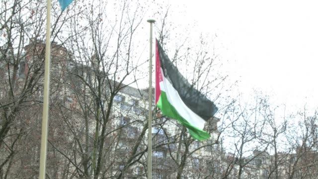 the palestinian flag was raised for the first time on tuesday above a un agency the unesco headquarters in paris in a diplomatic victory won despite... - unesco stock videos & royalty-free footage