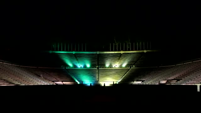 the panathenaic stadium in athens home to the first modern olympic games is lit up with the brazilian national colours in honour of the 2016 olympic... - panathinaiko stadium stock videos & royalty-free footage