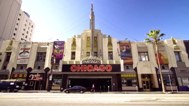 the pantages theater marquee indicates the musical chicago in hollywood. - pantages theater stock videos & royalty-free footage