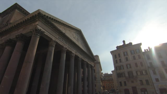 the pantheon temple in rome, italy, europe. - slow motion - temple building stock videos & royalty-free footage