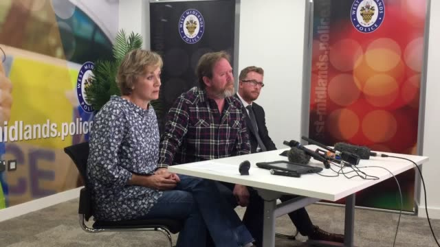 the parents of murder victim james brindley speak at a police press conference at west midlands police hq birmingham and urge their son's killers to... - victim stock videos & royalty-free footage