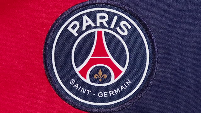 the paris saint-germain home shirt displaying the club badge on june 08, 2021 in manchester, united kingdom. - shirt stock videos & royalty-free footage