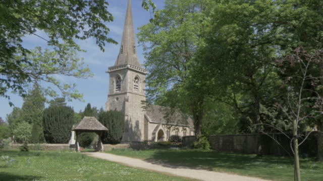 the parish church of st. mary in lower slaughter, cotswolds, gloucestershire, england, united kingdom, europe - cotswolds stock videos & royalty-free footage