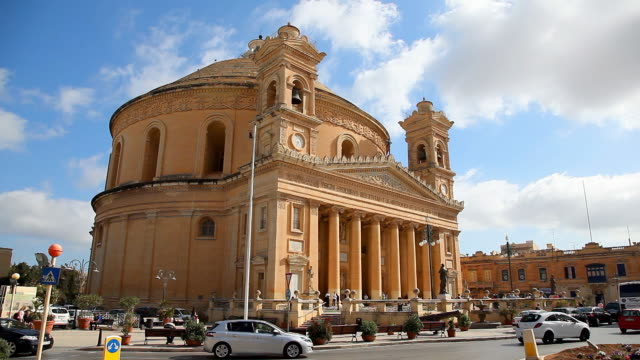 the parish church of the assumption commonly known as the rotunda of mosta or the mosta dome in malta - malta stock videos & royalty-free footage