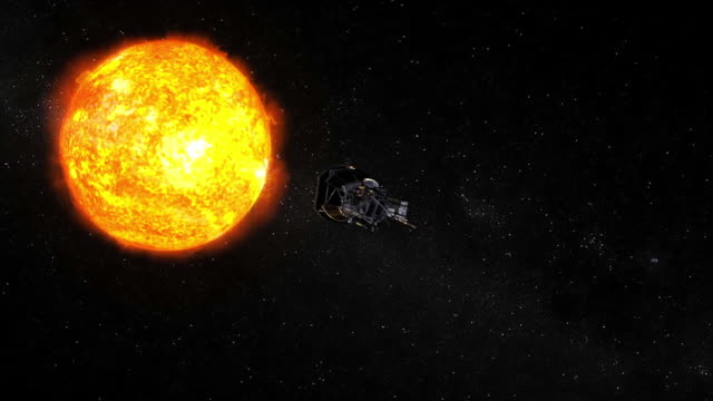 the parker solar probe will be the first spaceship to 'touch' the sun so it can be studied. the mission is breaking new grounds in space exploration.... - atmosphere filter stock videos & royalty-free footage