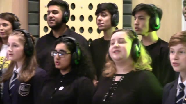 The Parrs Wood High School Harmony Group records Ariana Grande song My Everything for the Choirs with Purpose album Members of the choir Shaunna...